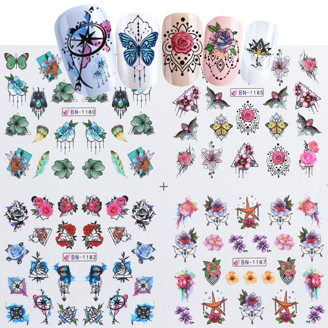 12pcs Watercolor Style Stickers For Nails Jewelry Flowers Sliders For Nails New Year Water Transfer Decal Manicure LEBN1177-1188