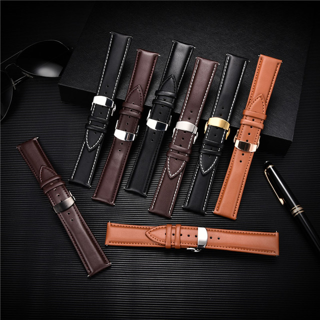 Smooth Calfskin Leather Watchband Butterfly Buckle 2