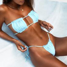 Micro Sexy kobiety zestaw Bikini 2020 Mujer strój kąpielowy Bandeau strój kąpielowy Push up dwuczęściowe damskie stroje kąpielowe Biquini kostium kąpielowy Bikini tanie tanio YEABIU CN (pochodzenie) Stałe Osób w wieku 18-35 lat Niski stan Bikini set Drut bezpłatne XKGYQ WOMEN Pasuje prawda na wymiar weź swój normalny rozmiar