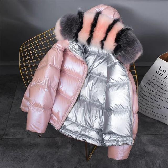 FTLZZ New Gold Silver Double Side Down Coat Winter Jacket Women Big Aritificial Fur White Duck Down Parkas Female Down Outerwear 2