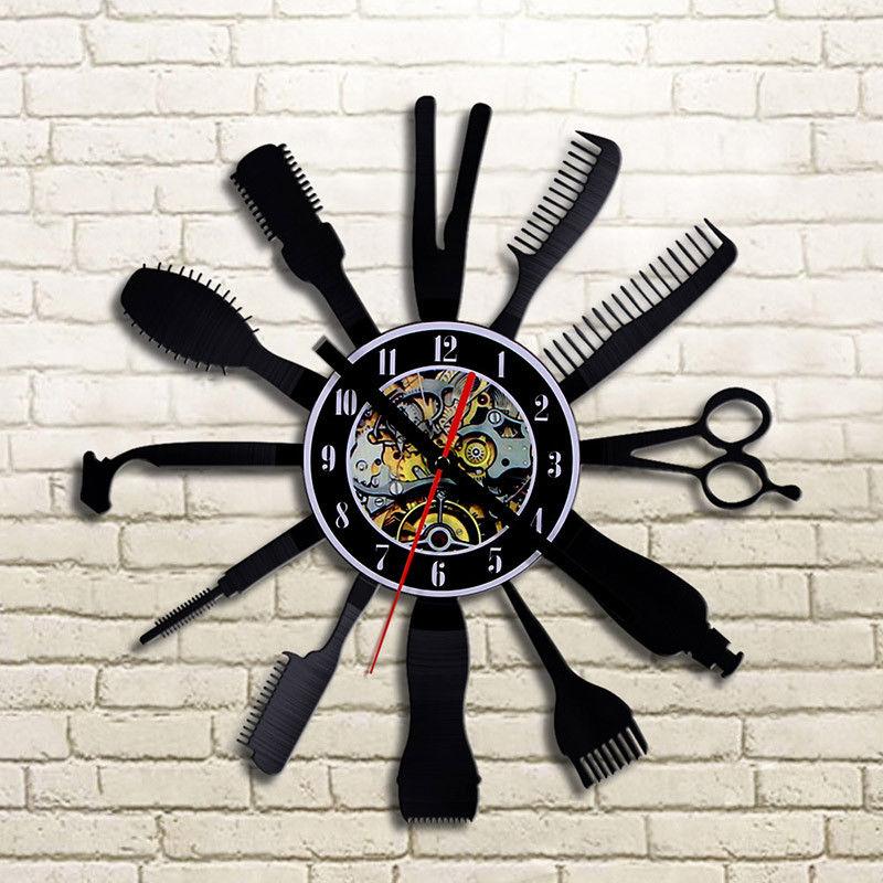 Creative Vinyl Wall Clock Modern Design Barber Hair Beauty For Barber Shop Clocks Classic CD Record Wall Watch Home Decor Silent