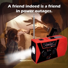 Outdoor Radio Mini Solar Emergency Flashlight Portable MP3 Music Player Red Abs