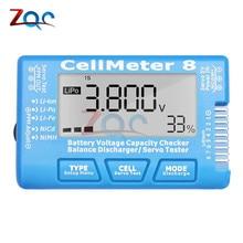 8 in 1 RC Cellmeter 8 Digital Battery Capacity Test Meter Voltage Detector Servo Tester for LiPo Life Li-ion NiMH Nicd Battery