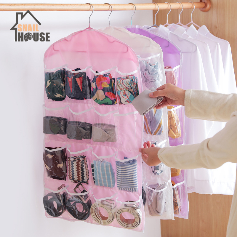 Snailhouse 16 Grid Foldable Wardrobe Wall Door Back Hanging Bag Underwear Sock Tie Hanging Shoe Storage Organizer Sundries Pouch