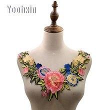 Модный яркий цветок хлопковая вышивка кружевная ткань отделка