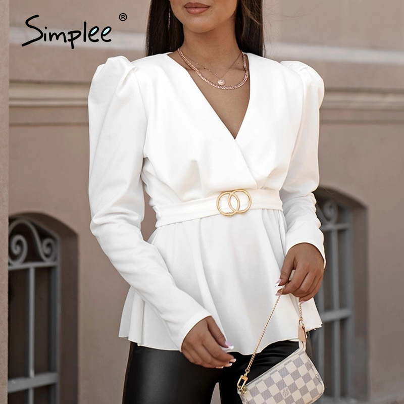 Simplee Elegant Solid White Women Blouse Shirts Vintage Sash Belt V Neck Female Blouses Puff Sleeve Black Casual Slusa Mujer Top
