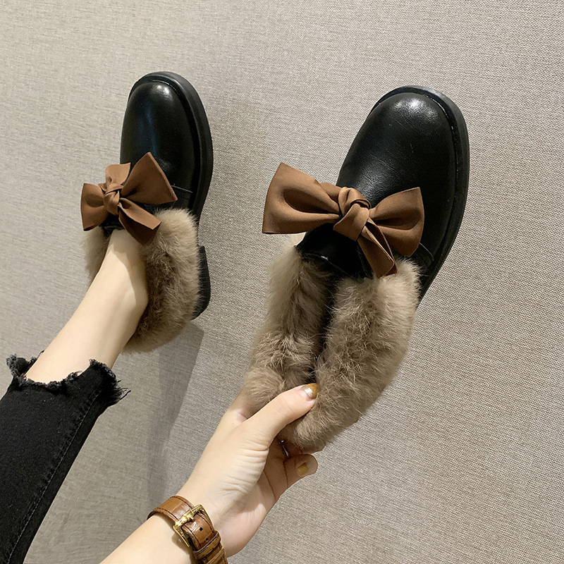 2019 winter long plush warm fur shoes bow tied decorate slip-on leather bullock shoes woman anti-skid chunky leisure espadrilles 42