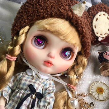 neo Blyth Doll NBL 1/6 BJD Customized Frosted Face,big eyes doll makeup Ball Jointed Doll with wig with Sleep eyes girl blyth [wamami] for 12 neo blyth doll 7 joints purple short wig matte face