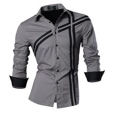 Jeansian Mens Fashion Dress Casual Shirts Button Down Long Sleeve Slim Fit Designer Z006 Gray