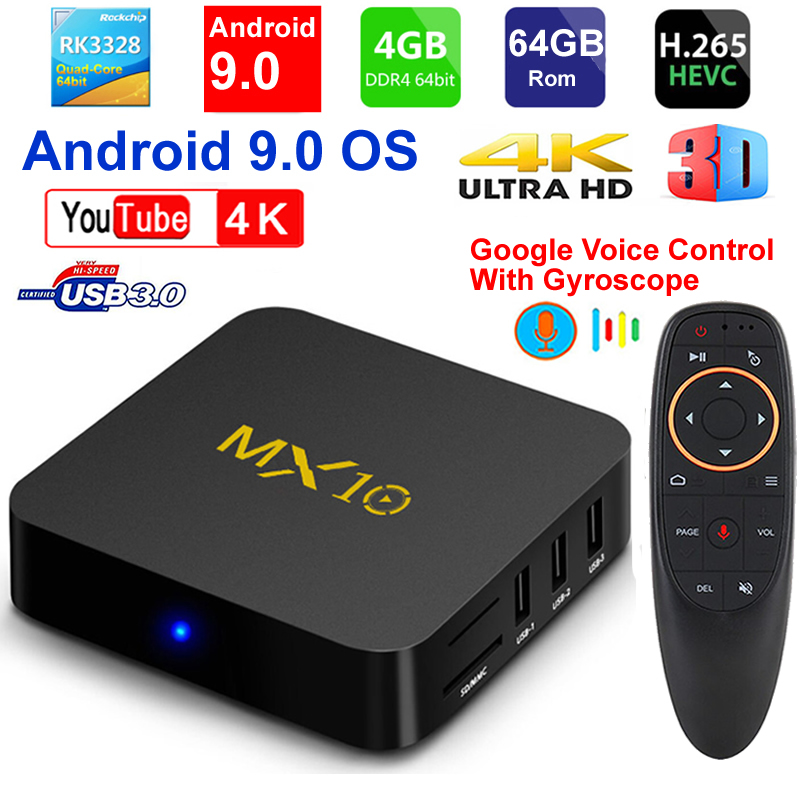 2019 New MX10 Android TV BOX Android 9.0 RK3328 Quad core 4G RAM 64G ROM 3D 4K HDR10 H.265 USB 3.0 Media Player IPTV Set top BOX-in Set-top Boxes from Consumer Electronics    1