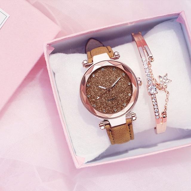 Women Watch Rhinestone Romantic Starry Sky WristWatch Fashion Ladies Leather Watch Clock for Women Relogio Feminino Montre Femme Accessories Jewellery & Watches