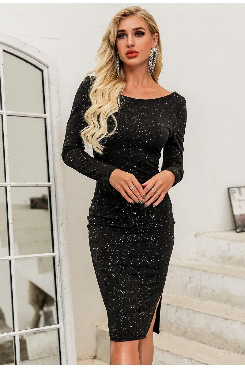 Elegant Black O-Neck Long Sleeve Backless Sequin Midi Dress 1