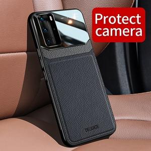 Чехол для Huawei P40 Pro Plus P40Lite, противоударный мягкий чехол-бампер из кожи для Huawei P30 Pro P30Lite, Роскошный чехол для телефона, чехол