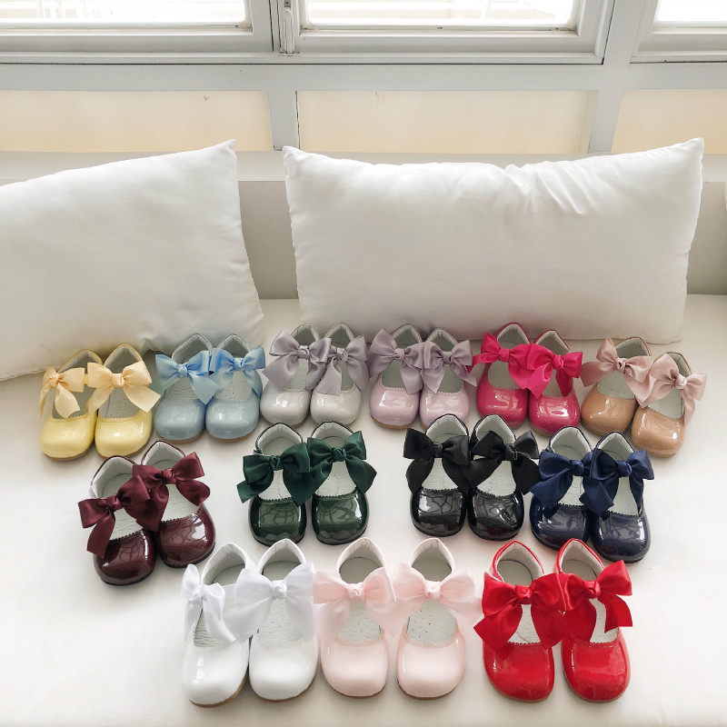 2020spring Customized Spanish Sweet Bow Princess Shoes Little Girl Shoes Mary Jane Shoes Girls Dress Shoes Toddler Dress Shoes