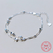 Fashion 925 Sterling Silver Double Layer Pentagram Women's Bracelet High Quality Jewelry Significant For Women(China)