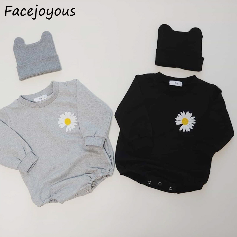 Newborn Bodysuits Baby Girl Long Sleeve Onesie Three-dimensional Small Daisy With Cap Cotton Clothing For Baby Clothes 0-24M