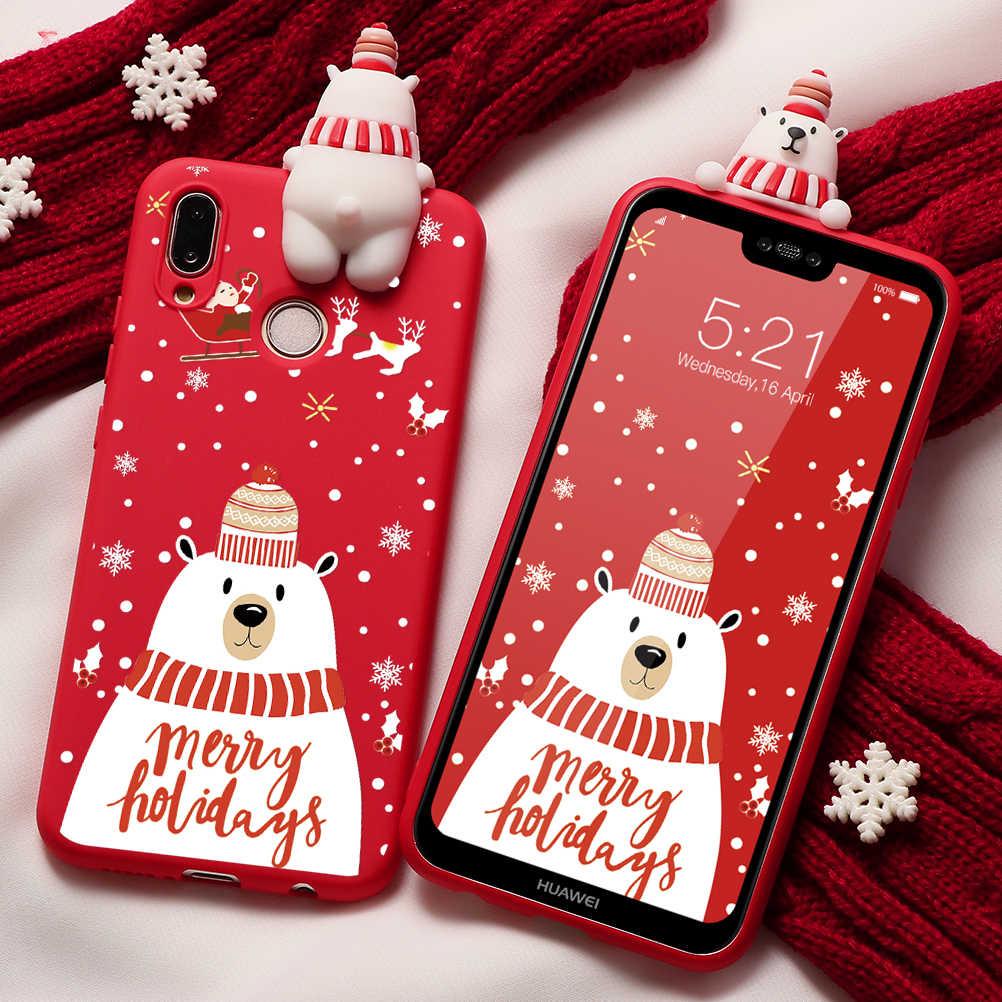 かわいいおもちゃケース Huawei 社 P20 P30 P10 P9 P8 Lite 2017 メイト 10 20 30 Lite Pro の P スマート 2019 ノヴァ 3 3i 5 クリスマス鹿 TPU カバー