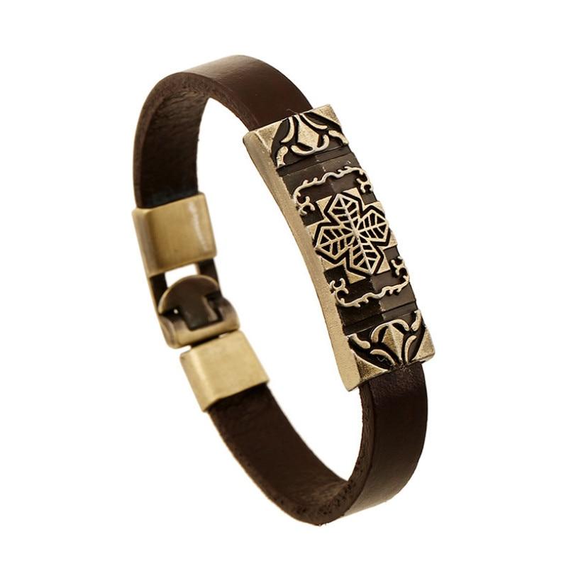 Hf2773928b74e45929f1056caccc4055bM - Vintage Retro Cross Brown Genuine Leather Cuff Bracelet Wristbands Metal Bronze Charm Bangle Wrap Women Men Punk Fashion Jewelry