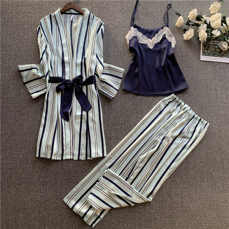 JULY'S SONG Woman New Spring Pajamas Set Sling 3 Pieces Satin Faux Silk Stripe Simple Casual Sleep Long Pants Woman Sleepwear