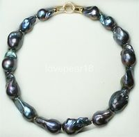 15 25MM Natural pearl black baroque pearl chain necklace choker long necklace