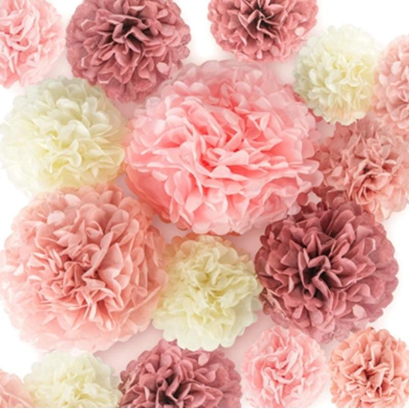 Papel rosa pom poms decoração do casamento aniversário rosa ouro papel bola chá de fraldas flores festa de aniversário papel de suspensão