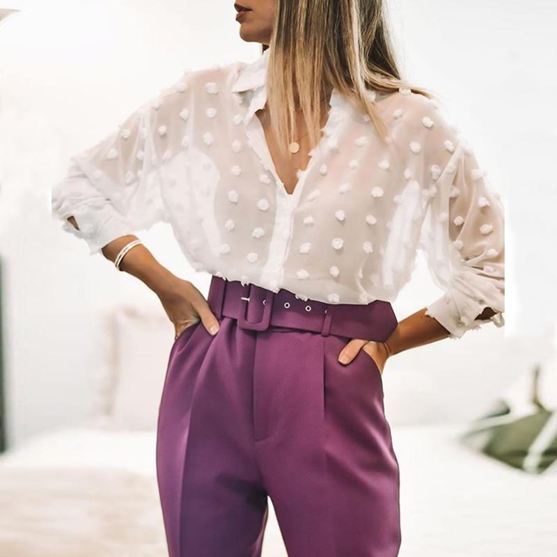 Women White Lace Chiffon Blouse Long Sleeve Polka Dot Embroidery Shirt Fashion Turn Down Collar Office Blouse Female Blusas