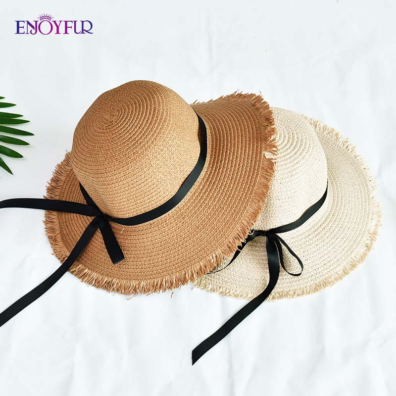 ENJOYFUR Women Straw Sun Hats Elegant Bow Ribbon Summer Beach Caps Fashion Tassel Brim Sun Protection Female Outdoor Travel Hat
