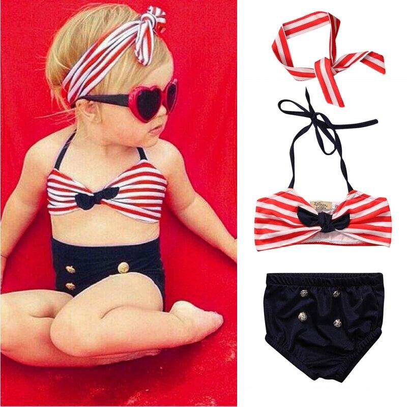 2020 Kids Baby Girls Bikini Suit Navy Swimsuit Swimwear Bathing Swimming Clothes Swimming Costume Summer Beachwear Child Biqunis