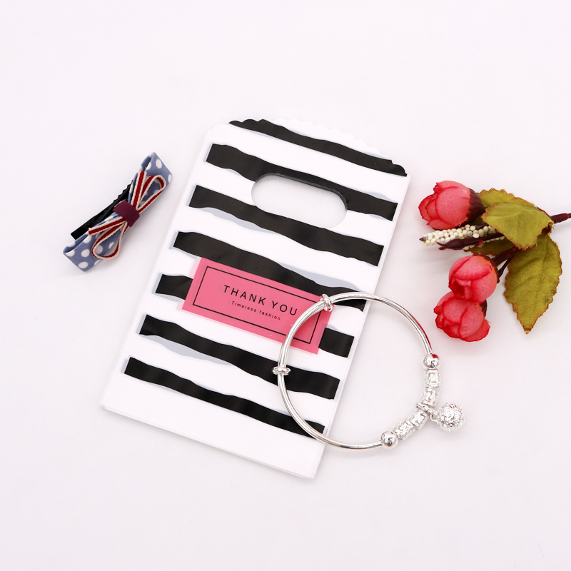 """50pcs/lot Handmade Plastic Jewelry Bags With Handle 9x15cm Black White Line With """"THANK YOU"""" Gifts Candy Soap Packaging DIY Bags"""