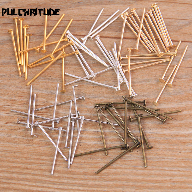 PULCHRITUDE 100pcs 20mm 5 Color Steel Eye Pins Findings Eye Head Pins For Jewelry Making DIY Supplies Accessories