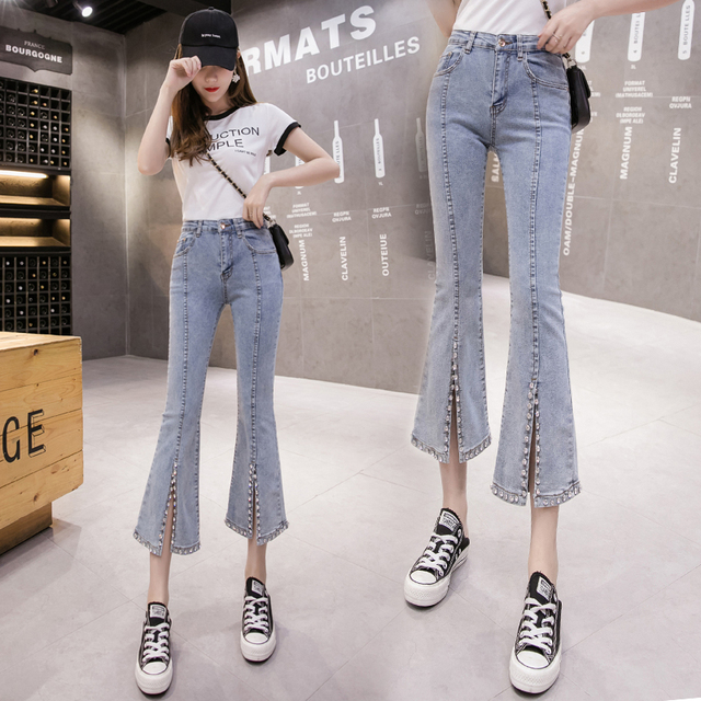 2020 nouvelle mode tout match diamant ensemble industrie lourde jean femmes mince fendu Micro-cloche-bas pantalon Streetwear jean femme