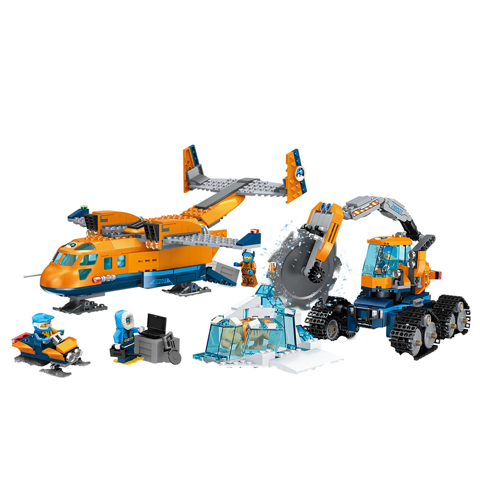743PCS Small Building Blocks Compatible with Legoed city Arctic Supply Plane Toys for children girls boys Gift DIY