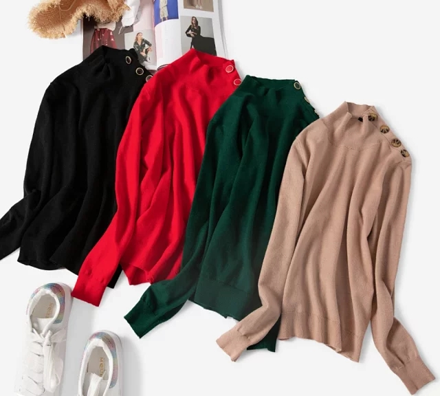 Women's Knitted Solid Color Sweater  Long Sleeve Knitwear Shoulder Buttons Knitted Pullover Top