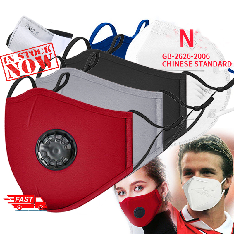 Fashion Mask Unisex Cotton Breath Valve PM2.5 Mouth Mask Anti-Dust Anti Pollution Mask Cloth Activated Carbon Filter Respira