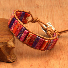 Bracelet bohemian handmade natural stone tube beads leather surround hand-woven ladies bracelet jewelry couple