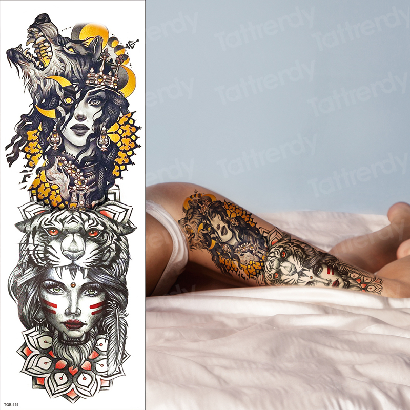 Temporary Thigh Tattoos Wolf Girl Moon Forest Large Tattoo Mens Fake Arm Shoulder Tattoo Oversleeve Legs Body Sticker Waterproof