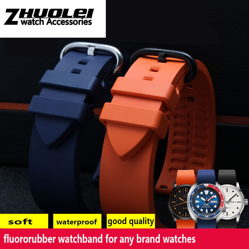 high Quality fluororubber waterproof watchband 20mm 22mm 24mm black Orange rubber strap for sports diving watch accessories