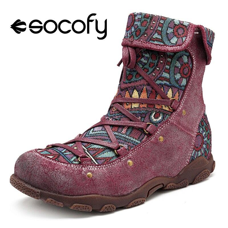 Socofy أحذية دراجات نارية من الجلد الأصلي المرأة الربيع الخريف البوهيمي خمر نمط Socofy حذاء من الجلد السيدات أحذية امرأة الجوارب-في أحذية الكاحل من أحذية على  مجموعة 1