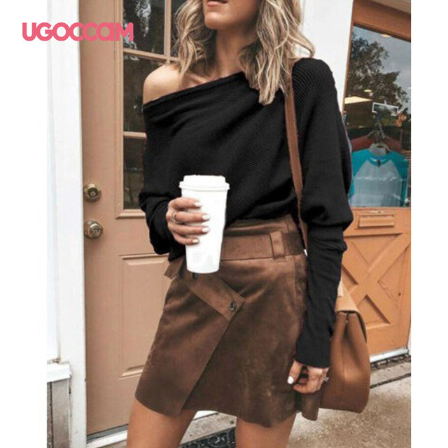 UGOCCAM White Blouse Women Long Sleeve Off Shoulder Shirt Casual Loose Women Tee Top Streetwear Plus Size roupas feminina 4