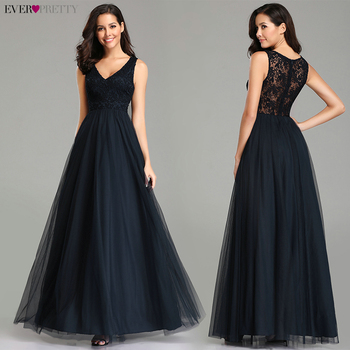 Ever Pretty Prom Dresses 2019 Elegant Navy Blue A Line O Neck Appliques Lace Formal Party Gowns Sexy Robe De Bal Gala Jurken 4