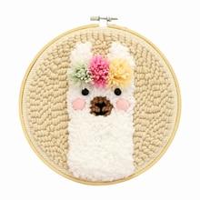 """Набор для вязания шерстяных ковриков """"сделай сам"""", ручная работа, шерстяная вышивка, креативный подарок с 19x19 см, вышивка, рамка, дырокол, игла"""