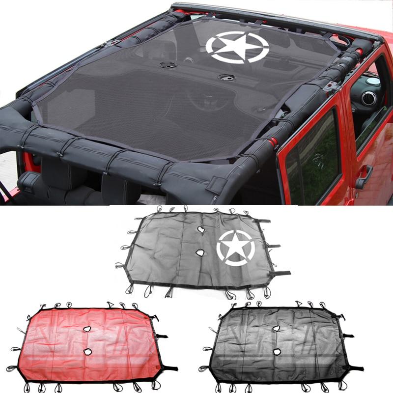 Mesh Shade Top Cover UV Sun Protection for Jeep Wrangler JK 2007-2018 2// 4 Door