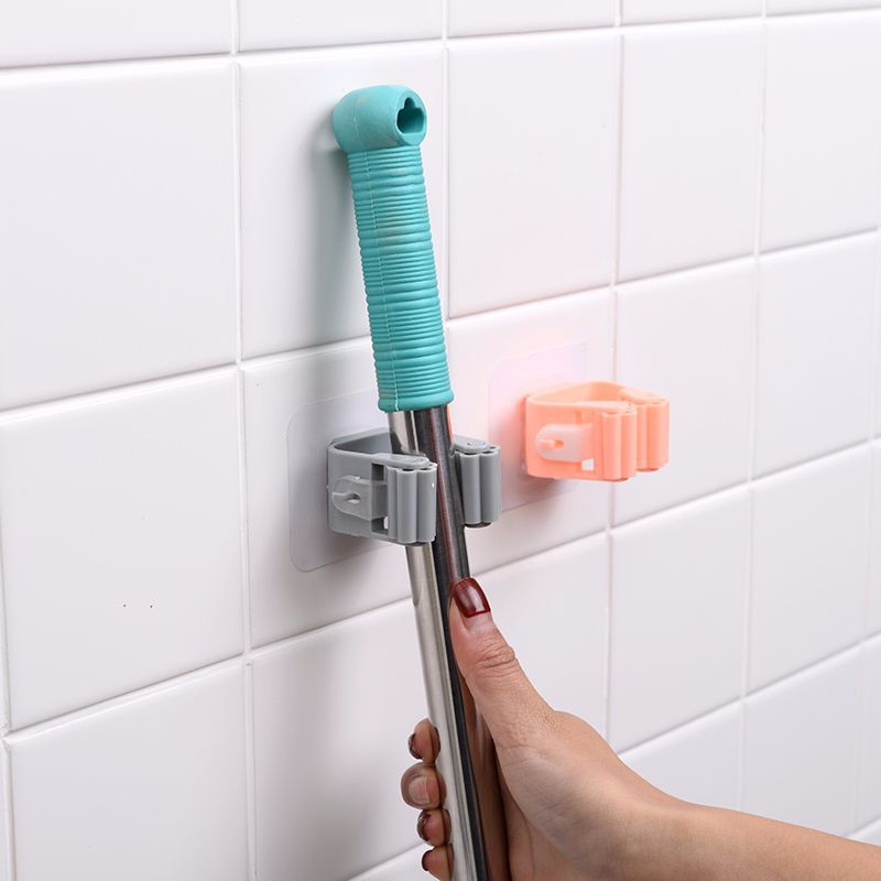 Wall Mounted Mop Broom Holder With Storage Rack Kitchen And Bath Holder Storage Tool 8