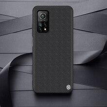 Dla Xiaomi MI 10T 5G / MI 10T Pro 5G przypadku Nillkin teksturowane włókna nylonowe trwałe antypoślizgowe tylna pokrywa dla Xiaomi MI 10T Lite 5G