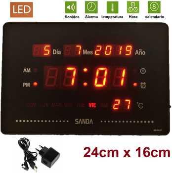 Reloj de Pared y mesa Digital Grande, agenda de Temperatura, 220V