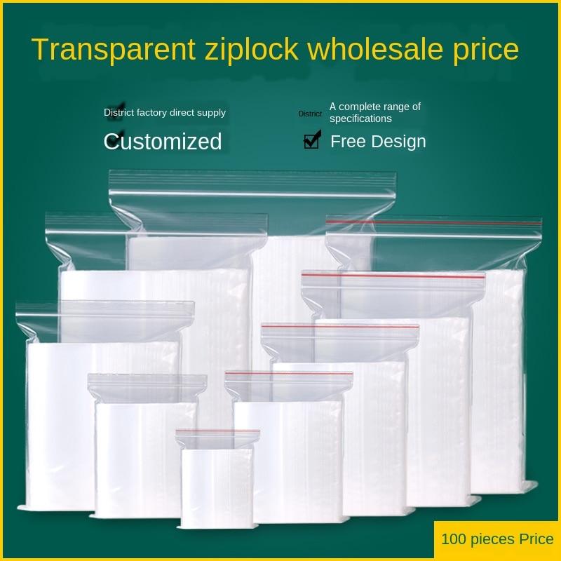 Ziplock Bag 20 Wire Zip Lock Plastic Bags Sealing Bag Transparent PE Poly Bags Fresh Storage Food Envelope Bag Reusable Zip Bag