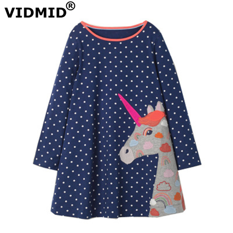 VIDMID Baby Girls Dress Long Sleeve Princess unicorn Dress Children cotton cute Kids Party Dresses Baby Girls Clothes W01 1