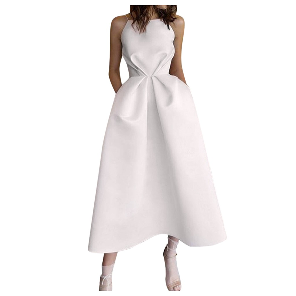 JAYCOSIN Fashion Women Spaghetti Strap Elegant Dresses Sexy Sleeveless O Neck Strapless Solid Fold Beach Ladies Party Dress