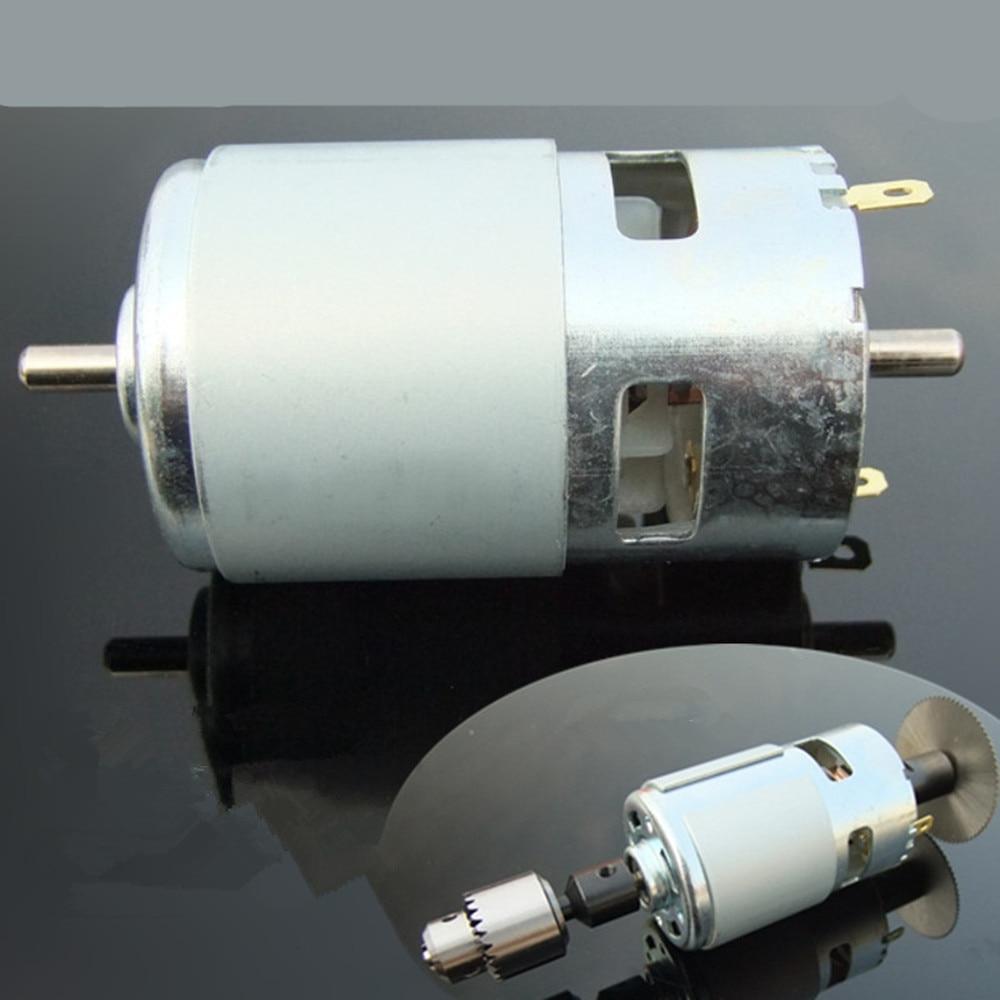 Doppel welle 775 DC motor drehmoment motor mit die kugellager tabelle säge mühle 12V24V