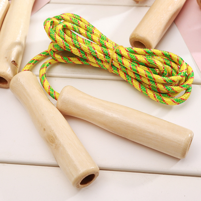 Sports Supplies Students Standard Jump Rope Children Fitness Environmentally Friendly Wooden Handle Jump Rope For One Person Stu